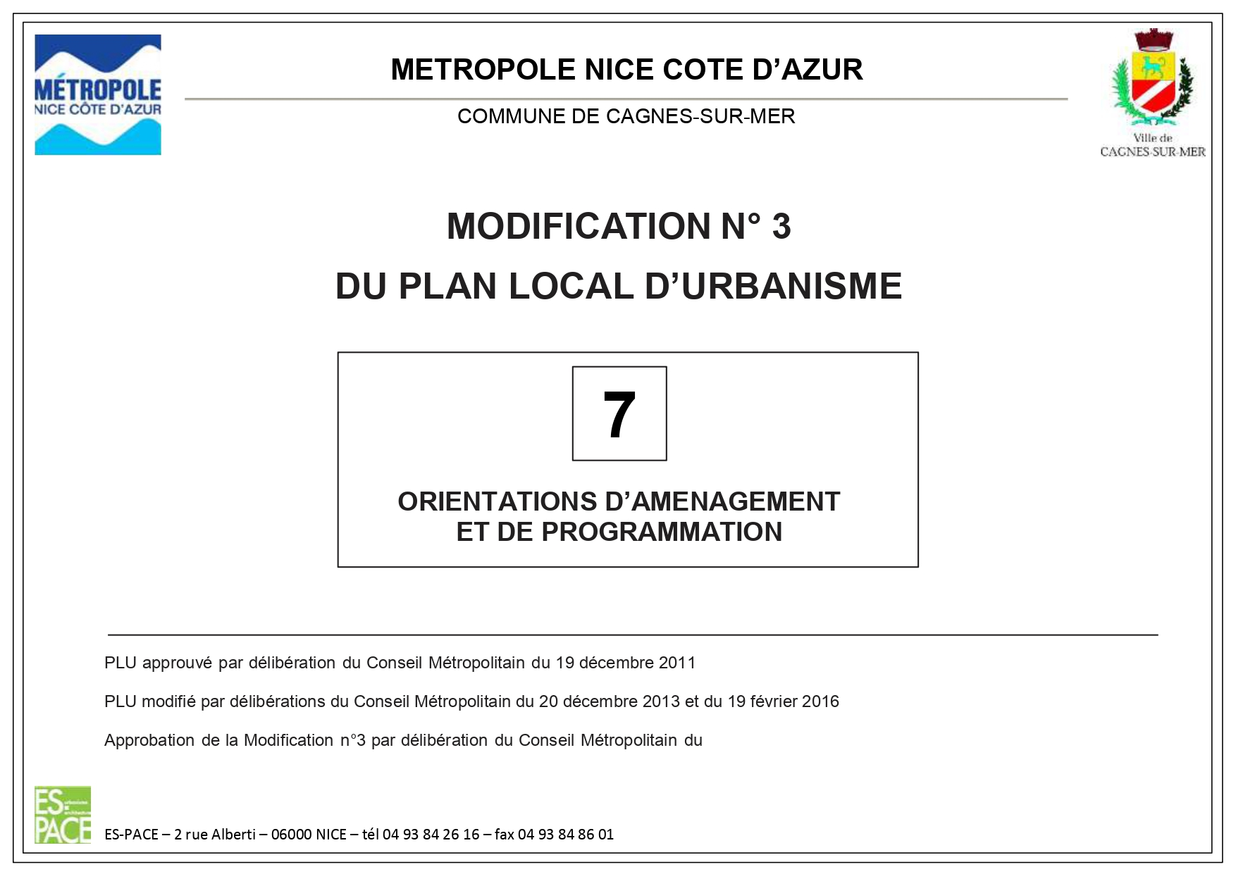 MODIFICATION N° 3 DU PLAN LOCAL D'URBANISME Cagnes sur mer